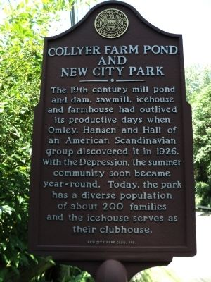 Collyer Farm Pond and New City Park Marker image. Click for full size.