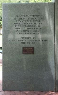 USS Columbia CL-56 Memorial Marker, rear left panel image. Click for full size.