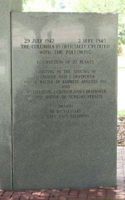 USS Columbia CL-56 Memorial Marker, rear right panel image. Click for full size.