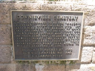 Downieville Cemetery Marker image. Click for full size.