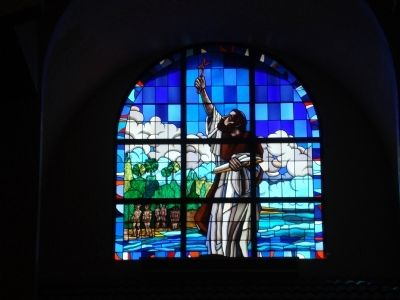 Stained Glass window of Fr. Luis de Cancer image. Click for full size.