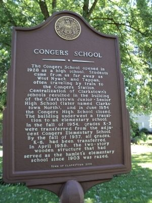 Congers School Marker image. Click for full size.