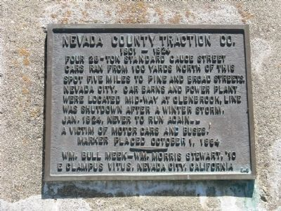 Nevada County Traction Co. Marker image. Click for full size.