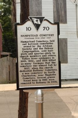 Hampstead Cemetery Marker, reverse side image. Click for full size.