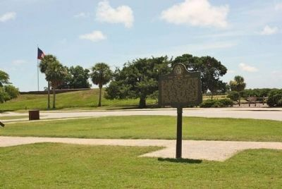 The Waving Girl Marker, at Fort Pulaski Parking lot image. Click for full size.