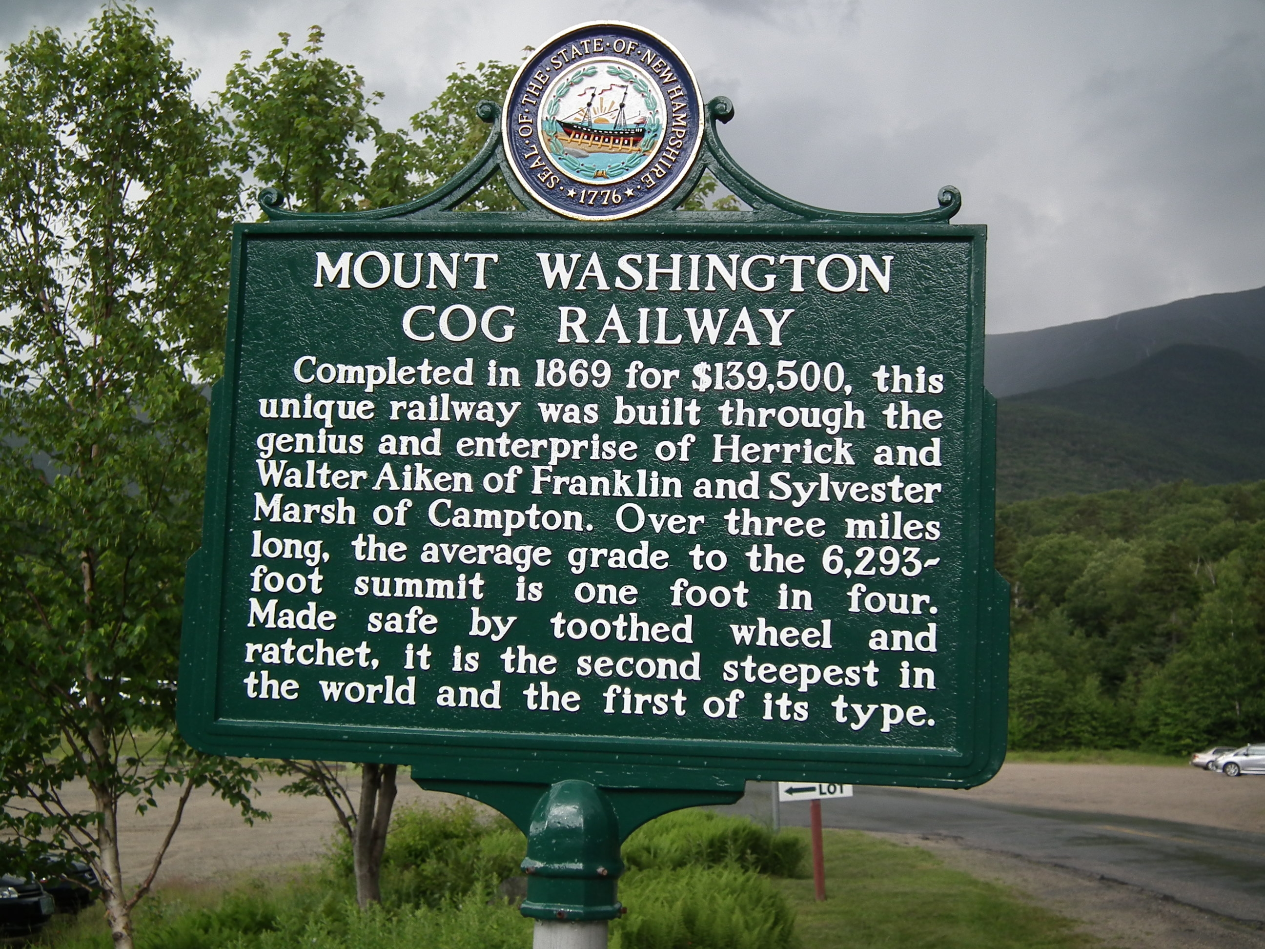 Mount Washington Cog Railway Marker