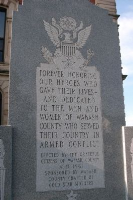 Upper Center Panel - - Wabash County (Indiana) Honor Rolls Marker image. Click for full size.