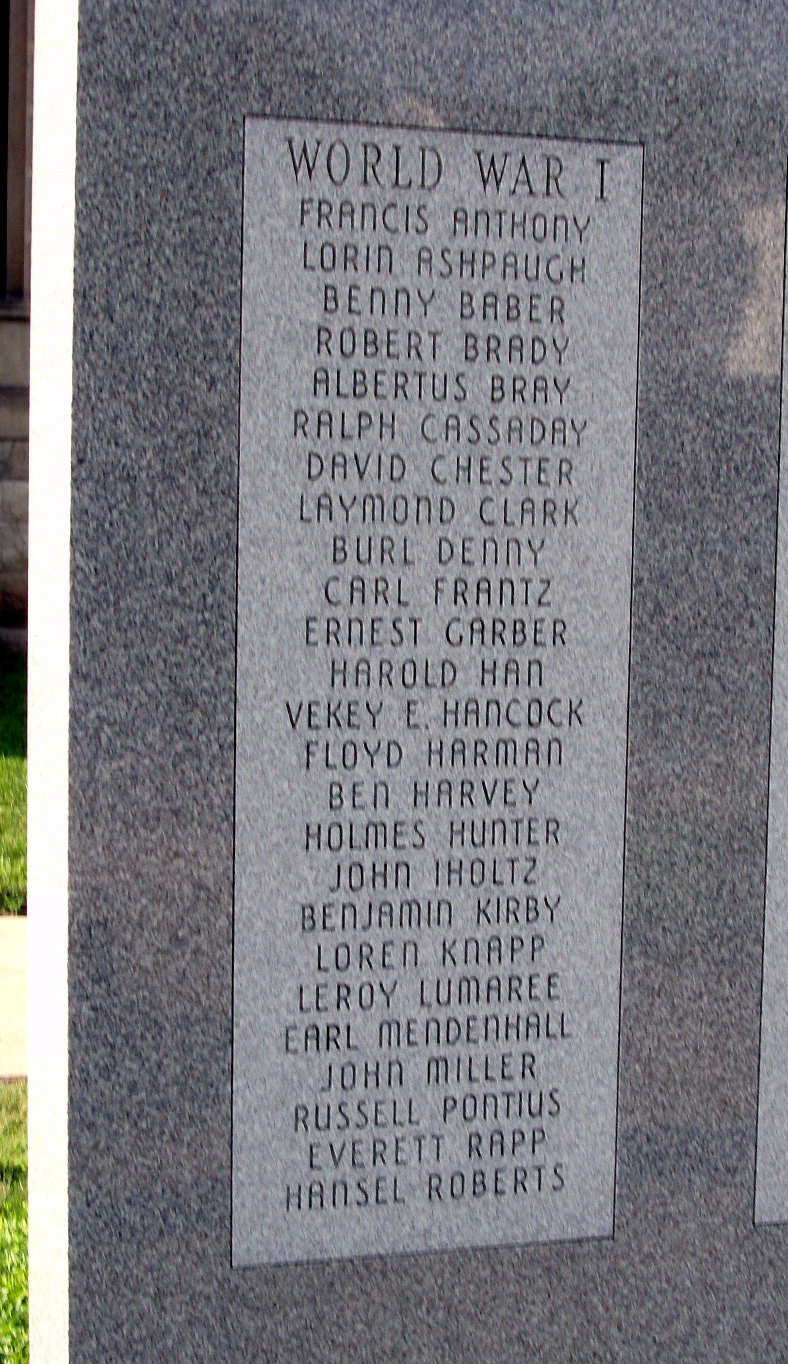 Left First Panel - - Wabash County (Indiana) Honor Rolls Marker