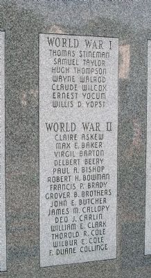Left Second Panel - - Wabash County (Indiana) Honor Rolls Marker image. Click for full size.