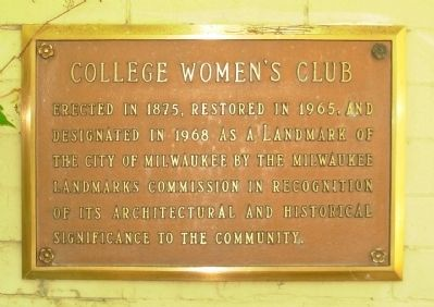College Women's Club Marker image. Click for full size.