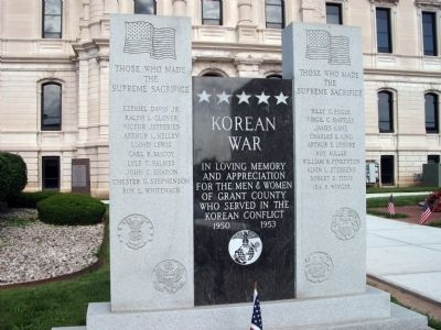 Full View - - Korean War Honor Roll - Grant County (Indiana) Marker image. Click for full size.