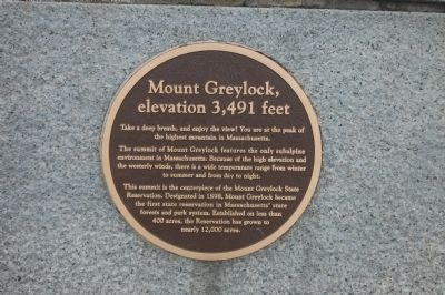 Mount Greylock, elevation 3,491 feet Marker image. Click for full size.
