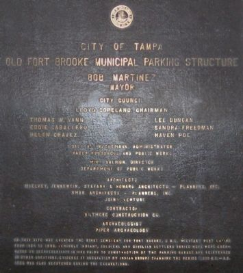 Old Fort Brooke Municipal Parking Structure Marker image. Click for full size.