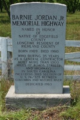 Barnie Jordan Jr. Memorial Highway Marker image. Click for full size.