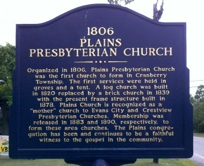 1806 Plains Presbyterian Church Marker image. Click for full size.