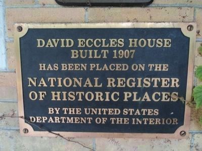 David Eccles Home Marker image. Click for full size.