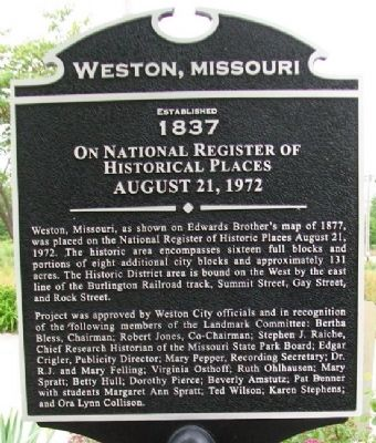 Weston, Missouri Marker image. Click for full size.