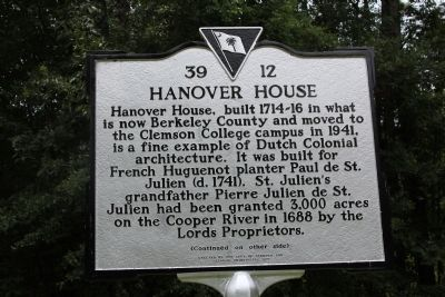 Hanover House Marker (front) image. Click for full size.