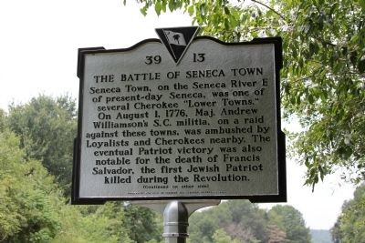 The Battle Of Seneca Town Marker (front) image. Click for full size.