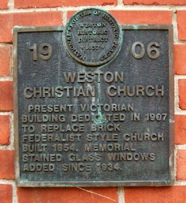 Weston Christian Church Marker image. Click for full size.