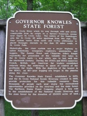 Governor Knowles State Forest Marker image. Click for full size.