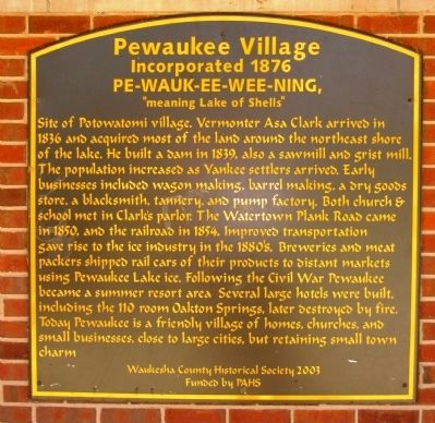 Pewaukee Village Marker image. Click for full size.