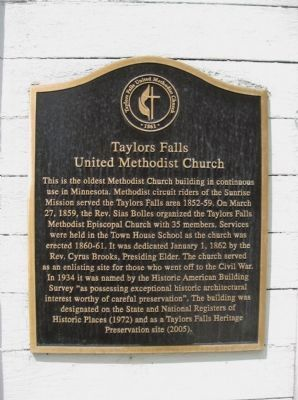 Taylors Falls United Methodist Church Marker image. Click for full size.