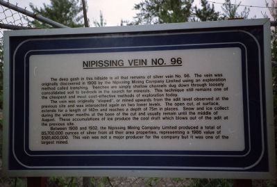 Nipissing Vein No. 96 Marker image. Click for full size.