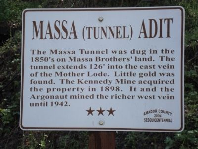 Massa (Tunnel) Adit Marker image. Click for full size.