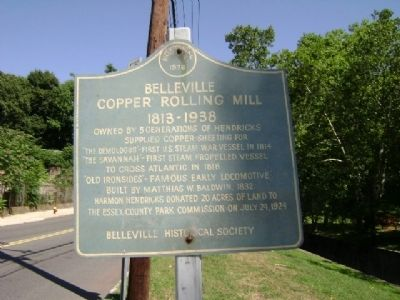 Belleville Copper Rolling Mill 1813-1938 Marker image. Click for full size.