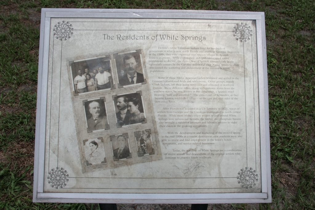 The Residents of White Springs Marker