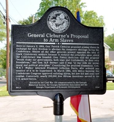 General Cleburne's Proposal to Arm Slaves Marker image. Click for full size.