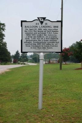 Balloon Landing, 1861 Marker<br>Front image, Touch for more information
