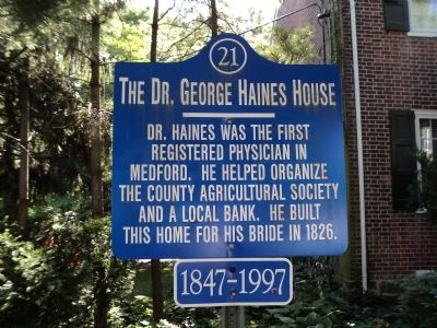 The Dr. George Haines House Marker image. Click for full size.