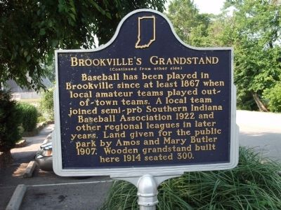 Side 'Two' - - Brookville's Grandstand Marker image. Click for full size.