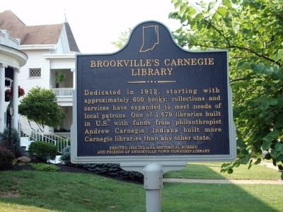 Brookville's Carnegie Library Marker image. Click for full size.