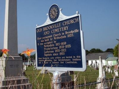 Other View - - Old Brookville Church and Cemetery Marker image. Click for full size.