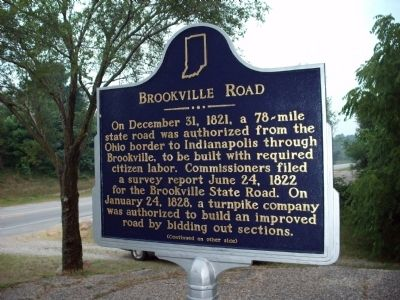Side 'One' - - Brookville Road Marker image. Click for full size.