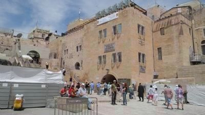 Western Wall Plaza, north end - one of the two welcome displays is visible in the background, image. Click for full size.