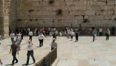 Praying at the Western Wall, men's section image. Click for full size.