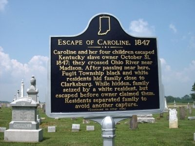 Side 'One' - - Escape of Caroline, 1847 Marker image. Click for full size.