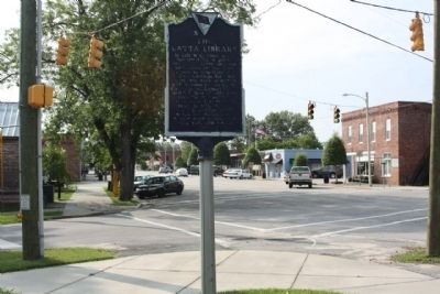 The Latta Library Marker, looking southeast down Main Street image. Click for full size.