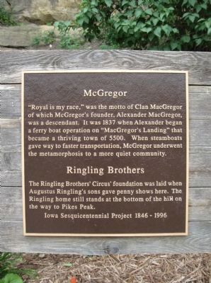 McGregor / Ringling Brothers Marker image. Click for full size.
