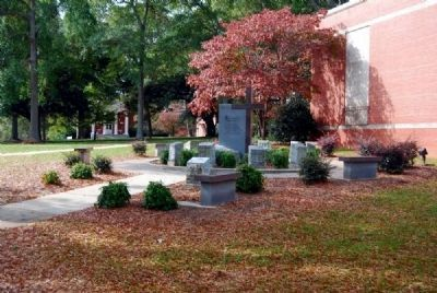 McCain Library (1949, 1973)<br>Ten Commandments Memorial<br>Erskine College Quadrangle image. Click for full size.