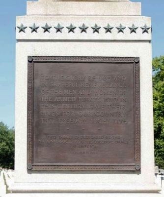 Spanish American War Memorial Marker, back view image. Click for full size.