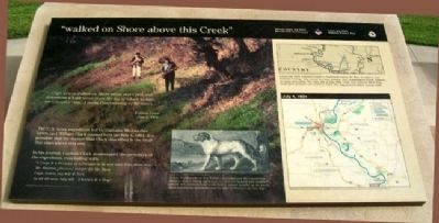 """walked on Shore above this Creek"" Marker image. Click for full size."