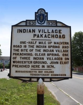 Indian Village Pakachoag Marker image. Click for full size.