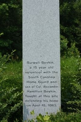 Burwell Boykin / Battle of Boykins Mill Marker, south face image. Click for full size.