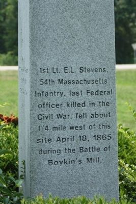 Burwell Boykin / Battle of Boykins Mill Marker, north face image. Click for full size.