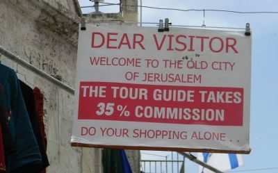 Old City merchants' warning to tourists image. Click for full size.